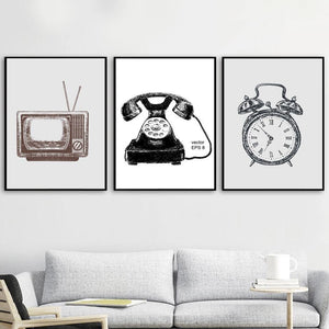 Vintage Retro TV Clock Gallery Wall Art Print Set from Gallery Wallrus | Eclectic Wall Art & Decor with Worldwide Shipping
