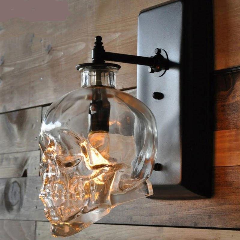 Industrial Skull Glass Wall Lamp from Gallery Wallrus | Eclectic Wall Art & Decor with Worldwide Shipping