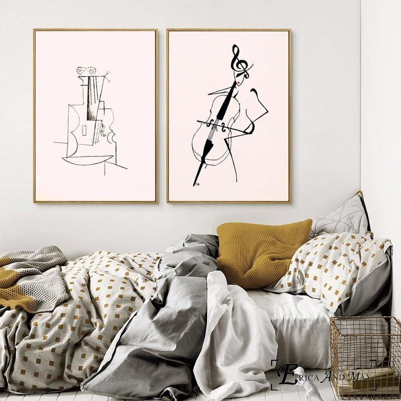 Minimalist Abstract Violin Wall Art Duo Prints from Gallery Wallrus | Eclectic Wall Art & Decor with Worldwide Shipping