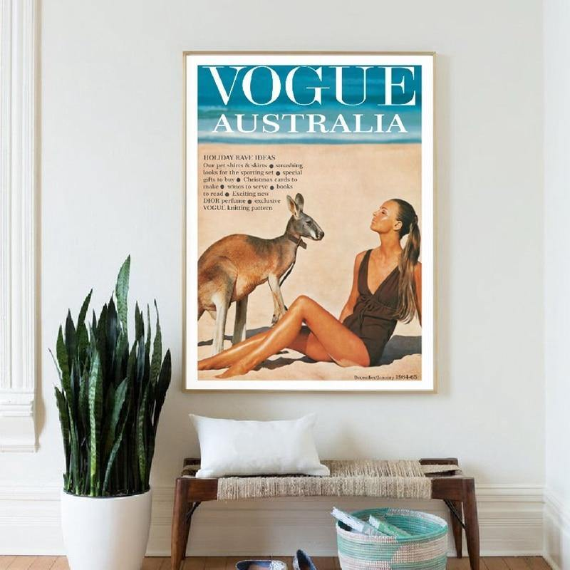 1964 Woman Kangaroo Australia Vogue Cover Art Print from Gallery Wallrus | Eclectic Wall Art & Decor with Worldwide Shipping