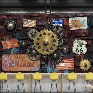 Vintage Gear Iron Plates Wall Mural from Gallery Wallrus | Eclectic Wall Art & Decor with Worldwide Shipping