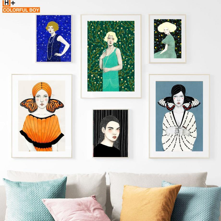 Stunning Bohemian Abstract Girl Gallery Wall Paintings Mix & Match 1 from Gallery Wallrus | Eclectic Wall Art & Decor with Worldwide Shipping