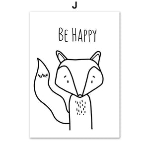 Be Happy Stand Tall Animal Sketch Drawings for Kids Bedroom 2 from Gallery Wallrus | Eclectic Wall Art & Decor with Worldwide Shipping