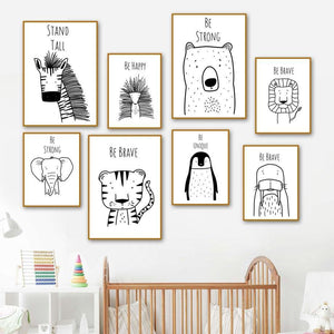Be Happy Stand Tall Animal Sketch Drawings for Kids Bedroom from Gallery Wallrus | Eclectic Wall Art & Decor with Worldwide Shipping