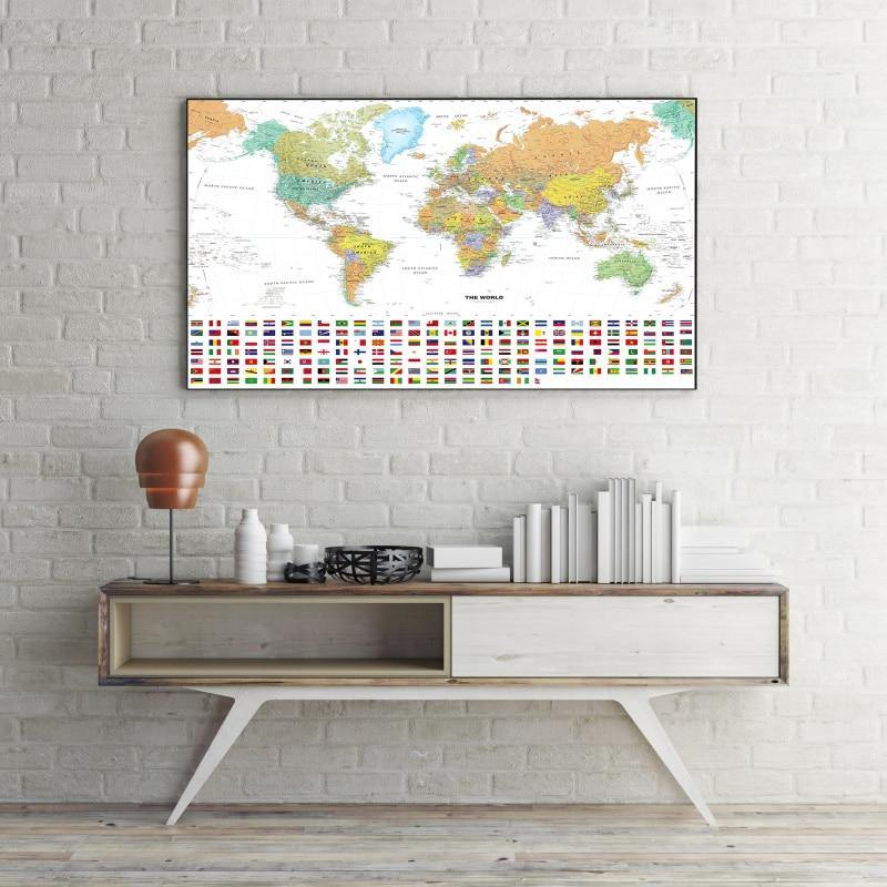 World Atlas with Country Flags Informative Wall Art Prints from Gallery Wallrus | Eclectic Wall Art & Decor with Worldwide Shipping