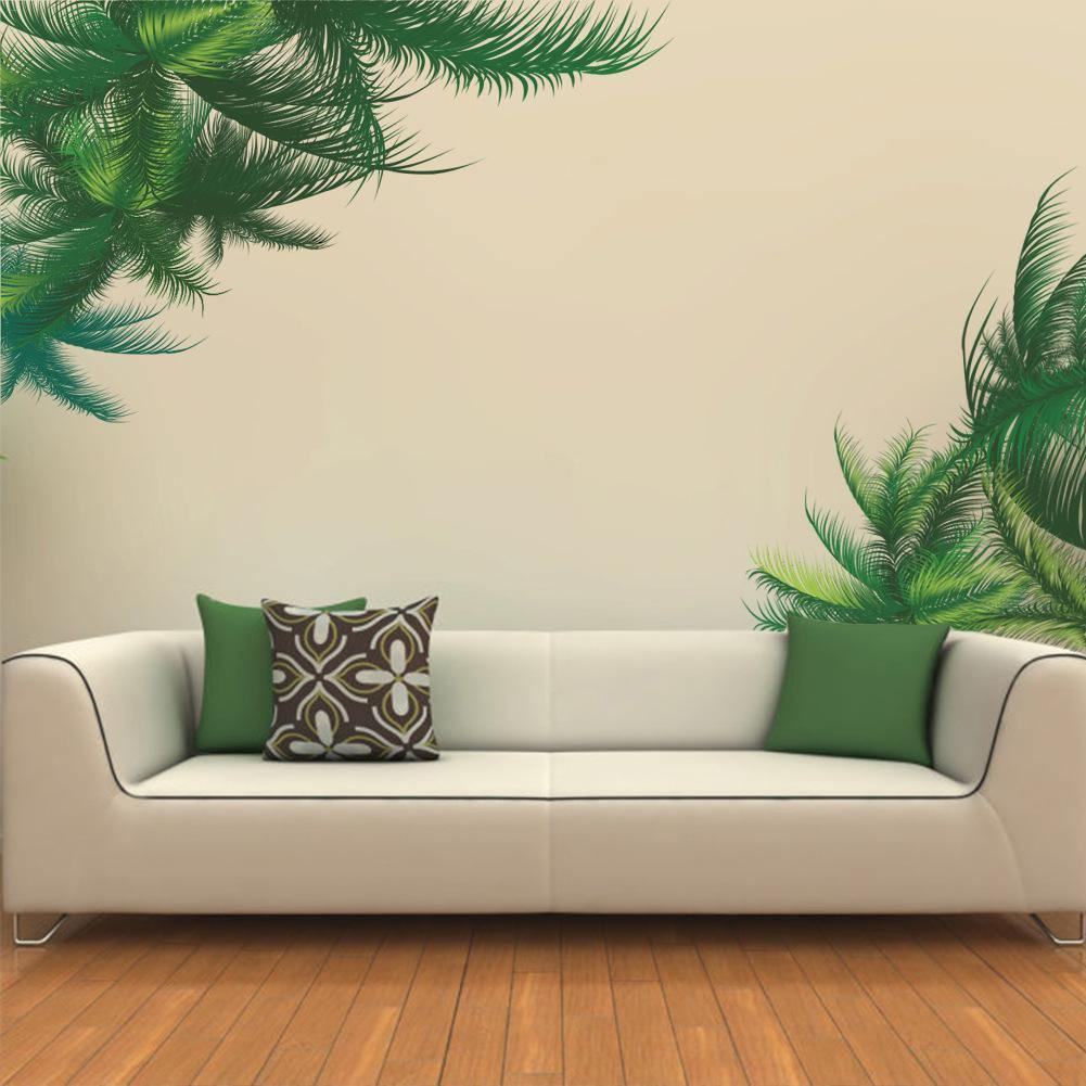 Wall Stickers Palm Tree Green Leaf TV Background Living-Room Decoration Plant Mural Art DIY Sitting Room Home Decals PVC Posters from Gallery Wallrus | Eclectic Wall Art & Decor with Worldwide Shipping