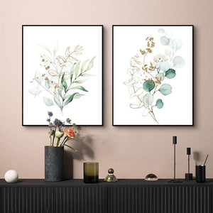 Minimalist Watercolor Plant Leaves Wall Art Paintings from Gallery Wallrus | Eclectic Wall Art & Decor with Worldwide Shipping