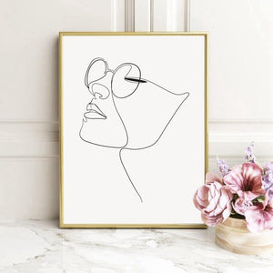 Girl in Glasses Line Art Minimalist Wall Art Print from Gallery Wallrus | Eclectic Wall Art & Decor with Worldwide Shipping