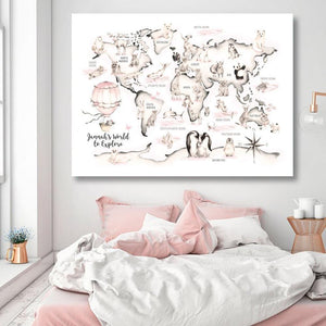 Woodland Animal World Map Poster Art Prints Nursery Decor , Watercolour Map Custom name Canvas Painting For Kids Room Wall Art from Gallery Wallrus | Eclectic Wall Art & Decor with Worldwide Shipping