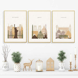 World City Landscape Wall Art Trio Posters from Gallery Wallrus | Eclectic Wall Art & Decor with Worldwide Shipping