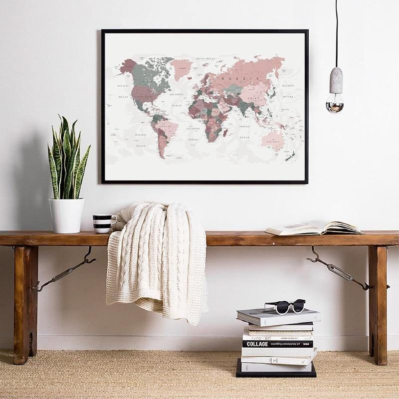 Blush Pink World Map Wall Art Print from Gallery Wallrus | Eclectic Wall Art & Decor with Worldwide Shipping