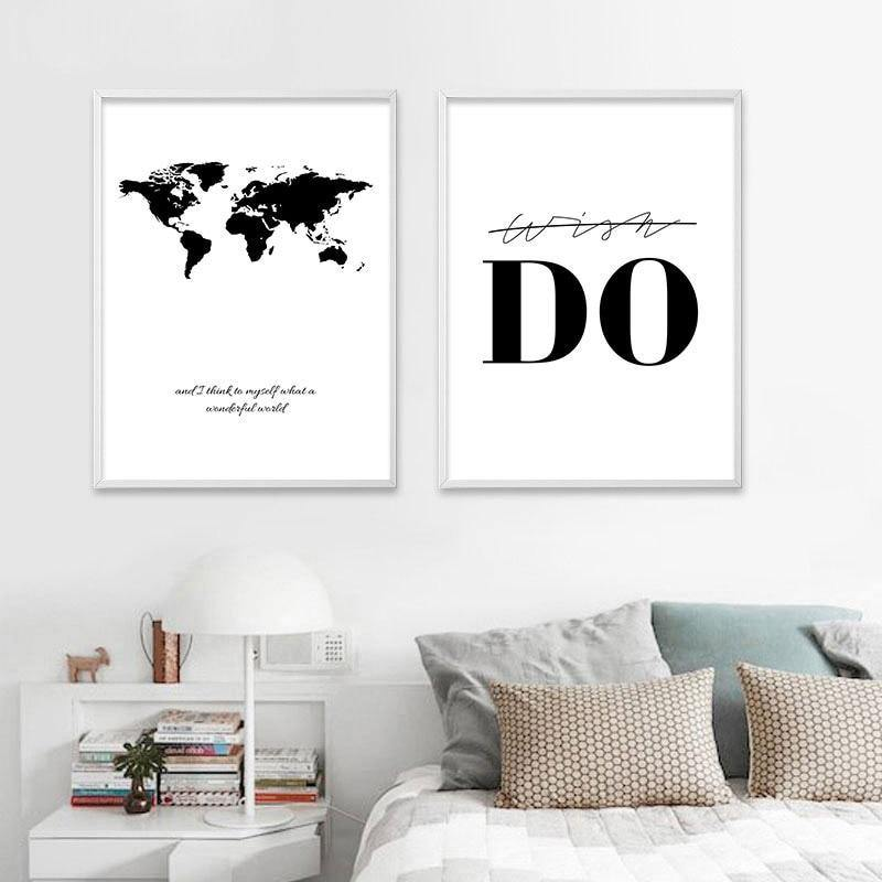 World Map and Motivation Wall Art Set from Gallery Wallrus | Eclectic Wall Art & Decor with Worldwide Shipping
