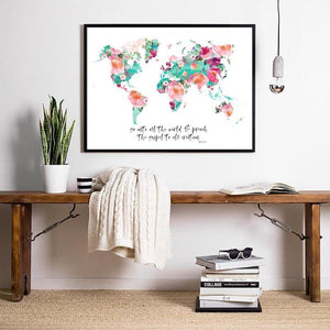 Watercolor World Map Prints with Bible Quotes from Gallery Wallrus | Eclectic Wall Art & Decor with Worldwide Shipping