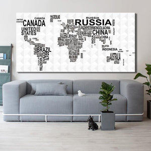 Black & White Typography World Map Art Picture from Gallery Wallrus | Eclectic Wall Art & Decor with Worldwide Shipping