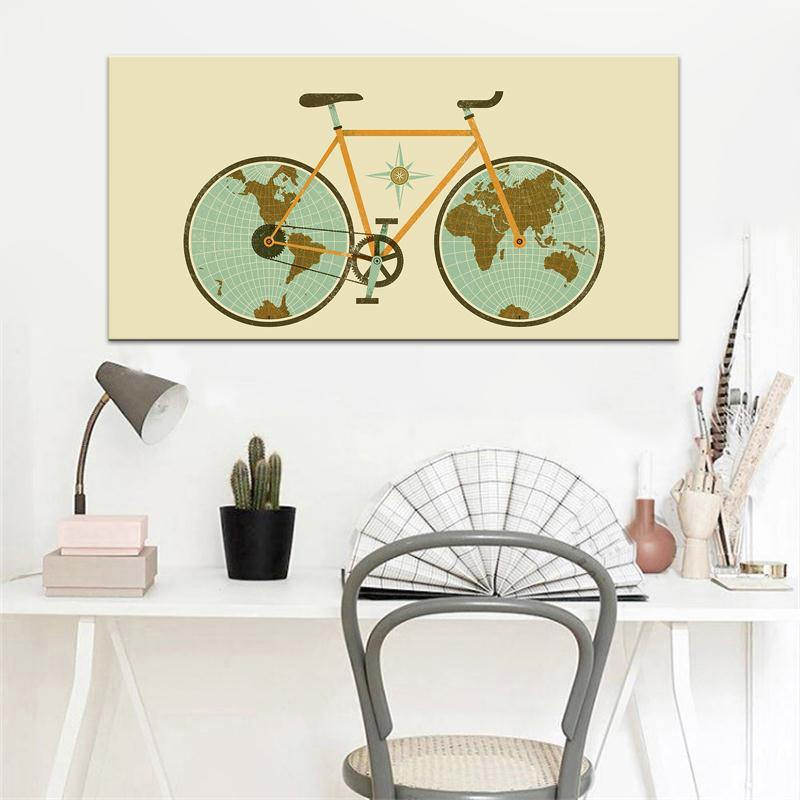 Bicycle Wheels World Map Art Picture from Gallery Wallrus | Eclectic Wall Art & Decor with Worldwide Shipping