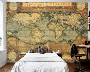 Antique World Map Wall Mural from Gallery Wallrus | Eclectic Wall Art & Decor with Worldwide Shipping