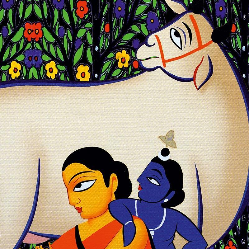 Yashoda Krishna Jodi Indian Painting Canvas Poster Modern Abstract Wall Art Prints Gallery Decoration Picture Home Room Decor from Gallery Wallrus | Eclectic Wall Art & Decor with Worldwide Shipping