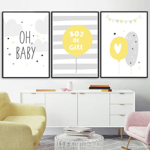 Yellow Heart Elephant Newborn Baby Wall Art Prints from Gallery Wallrus | Eclectic Wall Art & Decor with Worldwide Shipping