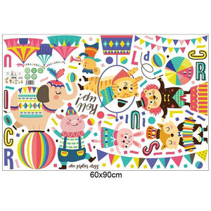Circus Friends Children Wall Mural from Gallery Wallrus | Eclectic Wall Art & Decor with Worldwide Shipping