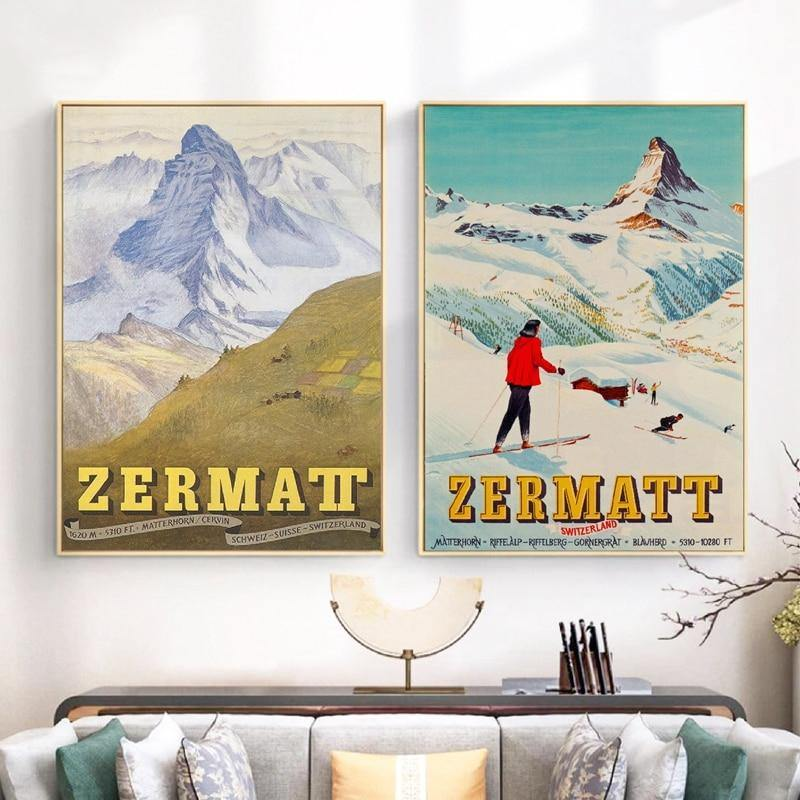 Retro Ski Zermatt Switzerland Matterhorn Art Gallery from Gallery Wallrus | Eclectic Wall Art & Decor with Worldwide Shipping