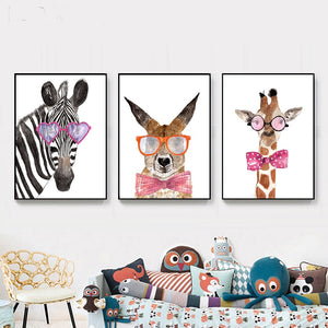 3 x Childrens Bedroom Funky Animal Art Prints from Gallery Wallrus | Eclectic Wall Art & Decor with Worldwide Shipping