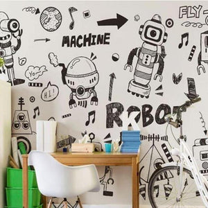Black White Doodle Machine Robots Wall Mural from Gallery Wallrus | Eclectic Wall Art & Decor with Worldwide Shipping