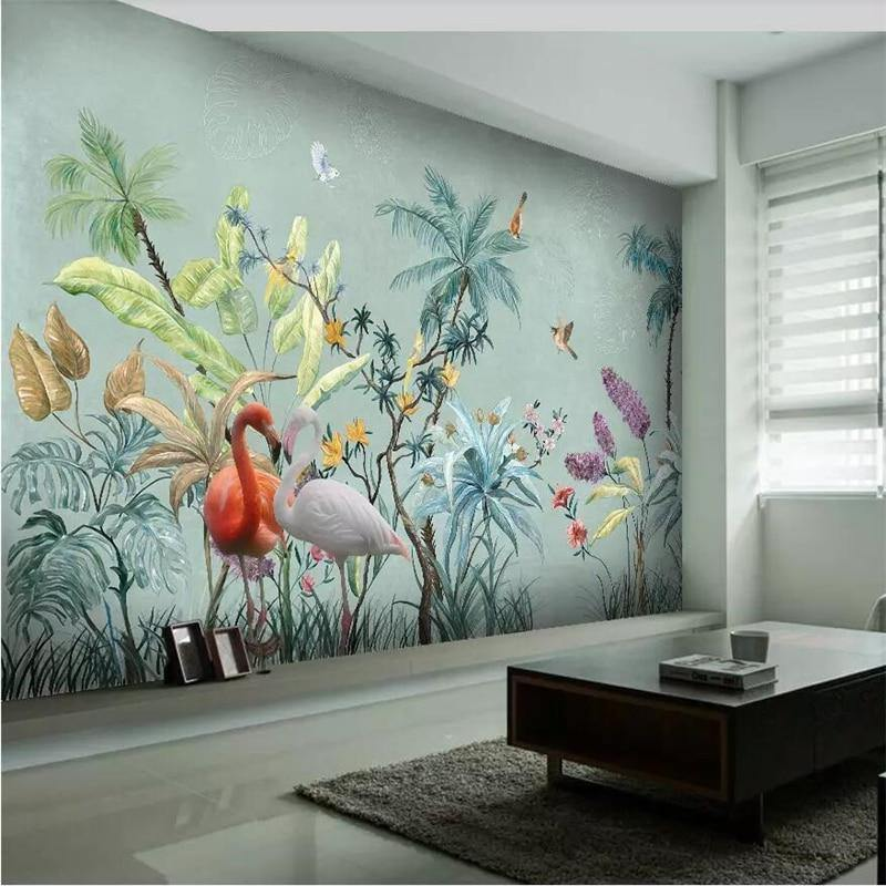 Dusty Green Tropical Nature Plants Flamingo Wall Mural from Gallery Wallrus | Eclectic Wall Art & Decor with Worldwide Shipping