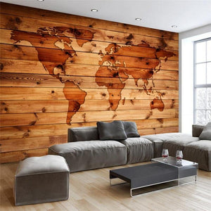 3D Wood Brown Continental World Map Wall Mural from Gallery Wallrus | Eclectic Wall Art & Decor with Worldwide Shipping