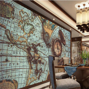 Vintage World Map Pocket Watch Wall Mural from Gallery Wallrus | Eclectic Wall Art & Decor with Worldwide Shipping