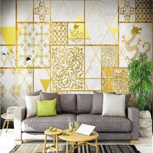 Golden Geometric Ethnic Dragon Wall Mural from Gallery Wallrus | Eclectic Wall Art & Decor with Worldwide Shipping