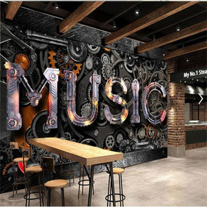 Retro Metal Gear Music Bar Wall Mural from Gallery Wallrus | Eclectic Wall Art & Decor with Worldwide Shipping