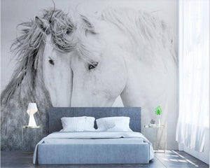 Couple White Horse 3D Wall Mural from Gallery Wallrus | Eclectic Wall Art & Decor with Worldwide Shipping