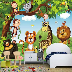Kids Safari Jungle Cartoon Wall Mural from Gallery Wallrus | Eclectic Wall Art & Decor with Worldwide Shipping