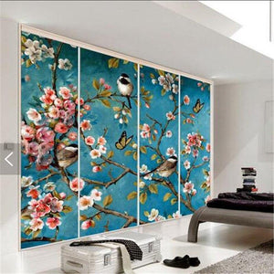 Blue Water Paint Flowers Birds Wall Decor Mural from Gallery Wallrus | Eclectic Wall Art & Decor with Worldwide Shipping