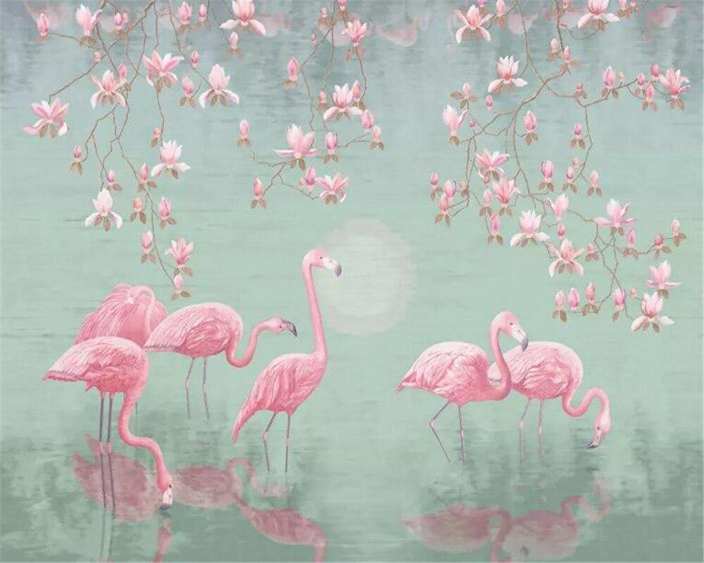 Pastel Colors Flamingo Tropical Wall Mural from Gallery Wallrus | Eclectic Wall Art & Decor with Worldwide Shipping