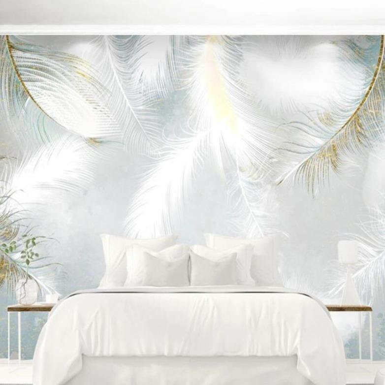 Calming Large White Feathers Wall Mural from Gallery Wallrus | Eclectic Wall Art & Decor with Worldwide Shipping