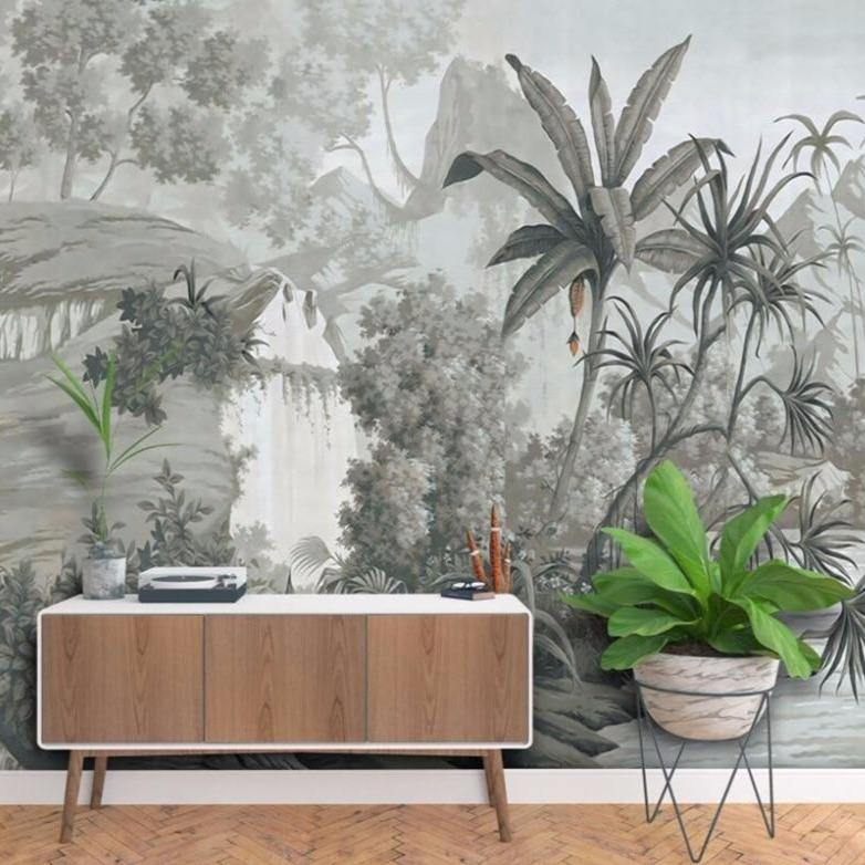 Cool Grey Forest Wall Mural from Gallery Wallrus | Eclectic Wall Art & Decor with Worldwide Shipping