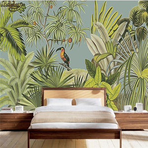 beibehang Custom wallpaper large mural wall stickers retro tropical rainforest parrot palm leaves living room TV wall from Gallery Wallrus | Eclectic Wall Art & Decor with Worldwide Shipping