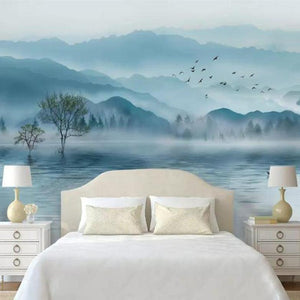 Relaxing Atmosphere Blue Water Forest Nature Wall Mural from Gallery Wallrus | Eclectic Wall Art & Decor with Worldwide Shipping