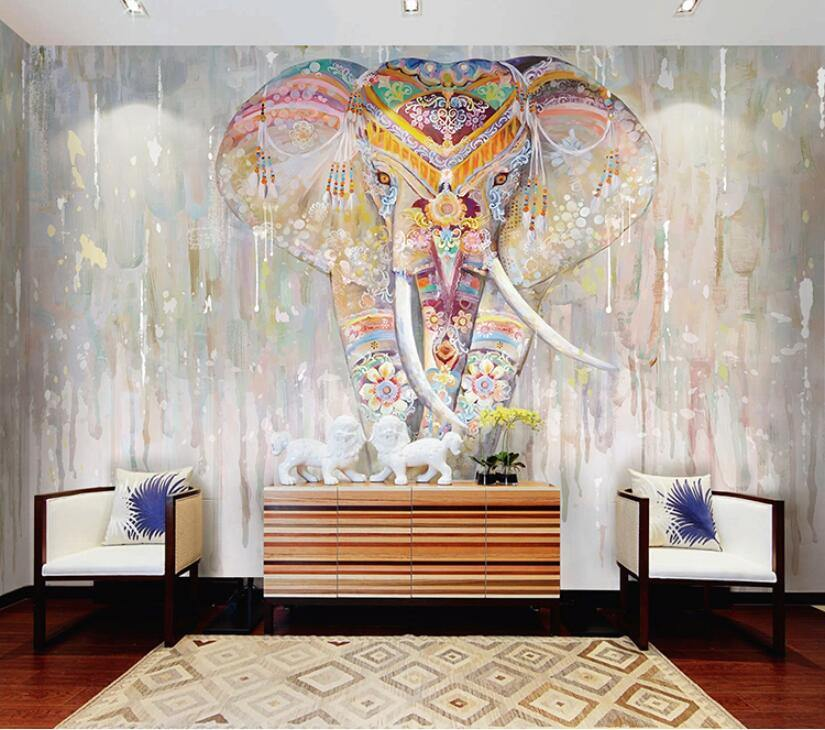 Southeast Asian Colorful Elephant Yoga Wall Mural from Gallery Wallrus | Eclectic Wall Art & Decor with Worldwide Shipping