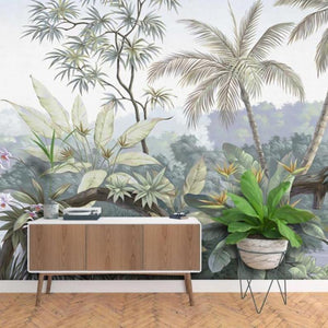 Palm Paradise Green Leaf Wall Mural from Gallery Wallrus | Eclectic Wall Art & Decor with Worldwide Shipping