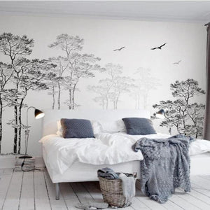 Black and White Tree Birds Nordic Style Wall Mural from Gallery Wallrus | Eclectic Wall Art & Decor with Worldwide Shipping
