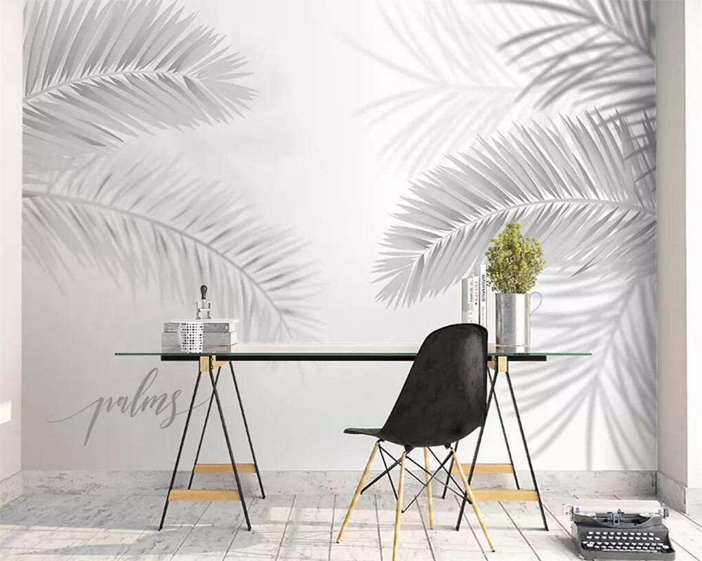 White Coconut Palm Tree Leaves Wall Mural from Gallery Wallrus | Eclectic Wall Art & Decor with Worldwide Shipping