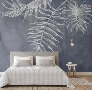 Pastel Gray Hanging Large Leaves Wall Mural from Gallery Wallrus | Eclectic Wall Art & Decor with Worldwide Shipping