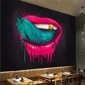 Graffiti Big Lips Colors Tongue Gold Teeth Wall Mural from Gallery Wallrus | Eclectic Wall Art & Decor with Worldwide Shipping