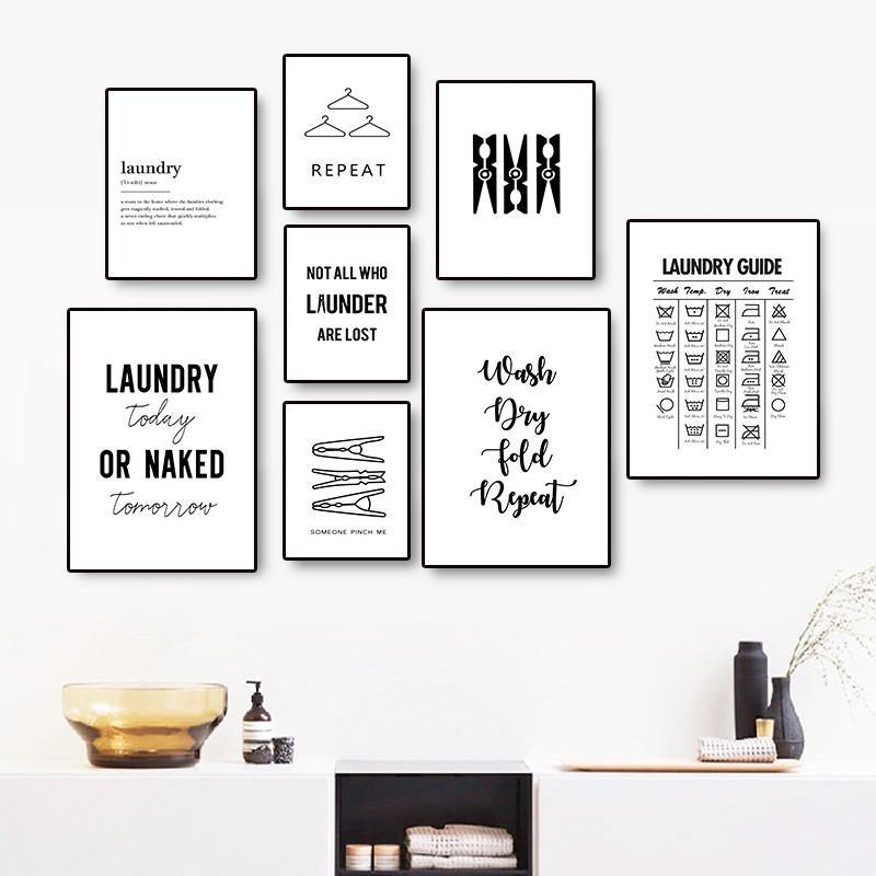 Black White Laundry Quotes Wall Art Gallery