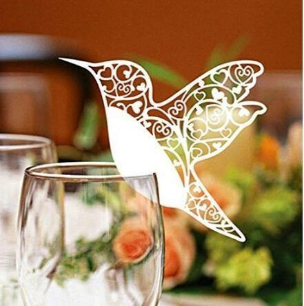 50 x White Humming Bird Place Cards from Gallery Wallrus | Eclectic Wall Art & Decor with Worldwide Shipping