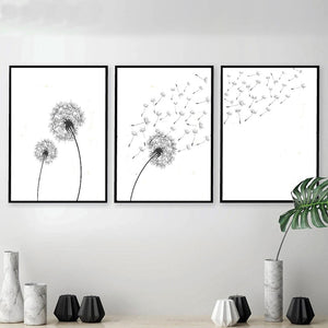 Gallery Wall Trio of Dandelion Art Prints from Gallery Wallrus | Eclectic Wall Art & Decor with Worldwide Shipping