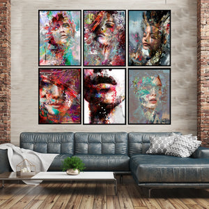 Gallery Wall of 6 striking portrait Artworks from Gallery Wallrus | Eclectic Wall Art & Decor with Worldwide Shipping