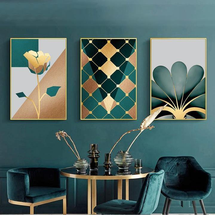 Gallery Wall Trio of Green & Gold Artworks from Gallery Wallrus | Eclectic Wall Art & Decor with Worldwide Shipping
